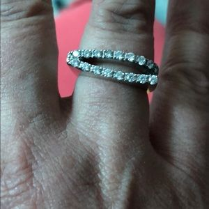Unique cz and 14k white gold ring